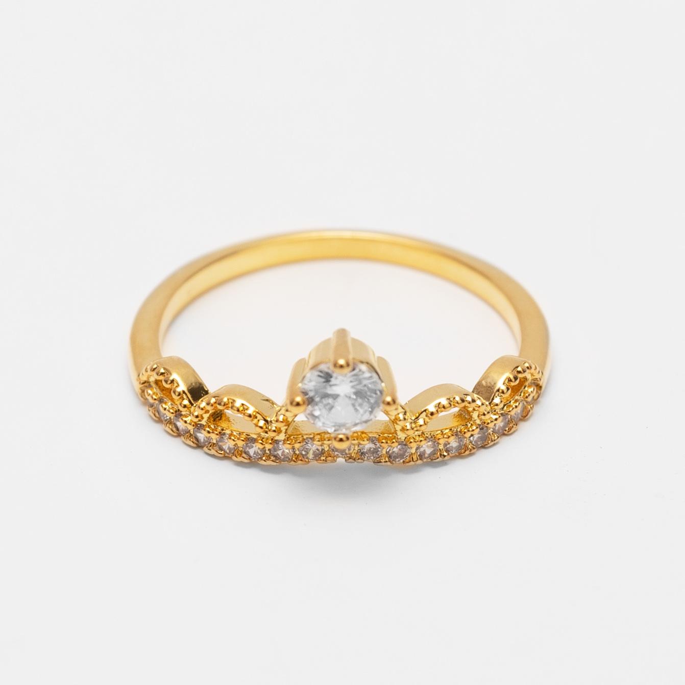 Anel Coroa Cravejada com Zircônias Folheado a Ouro 18k  - Lunozê Joias