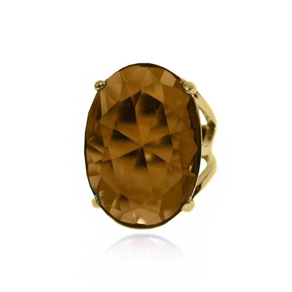 Anel de Pedra Lapidada Formato Oval Folheado a Ouro 18k