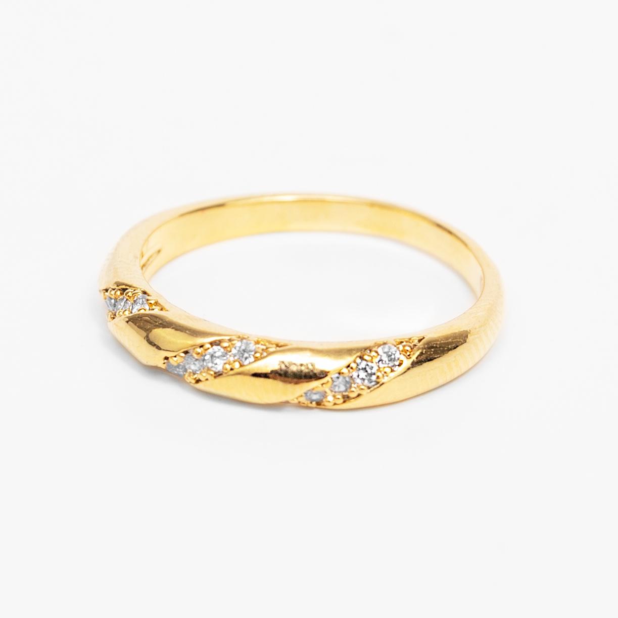 Anel Detalhe Trançado Cravejado Zircônias Folheado Ouro 18k  - Lunozê Joias