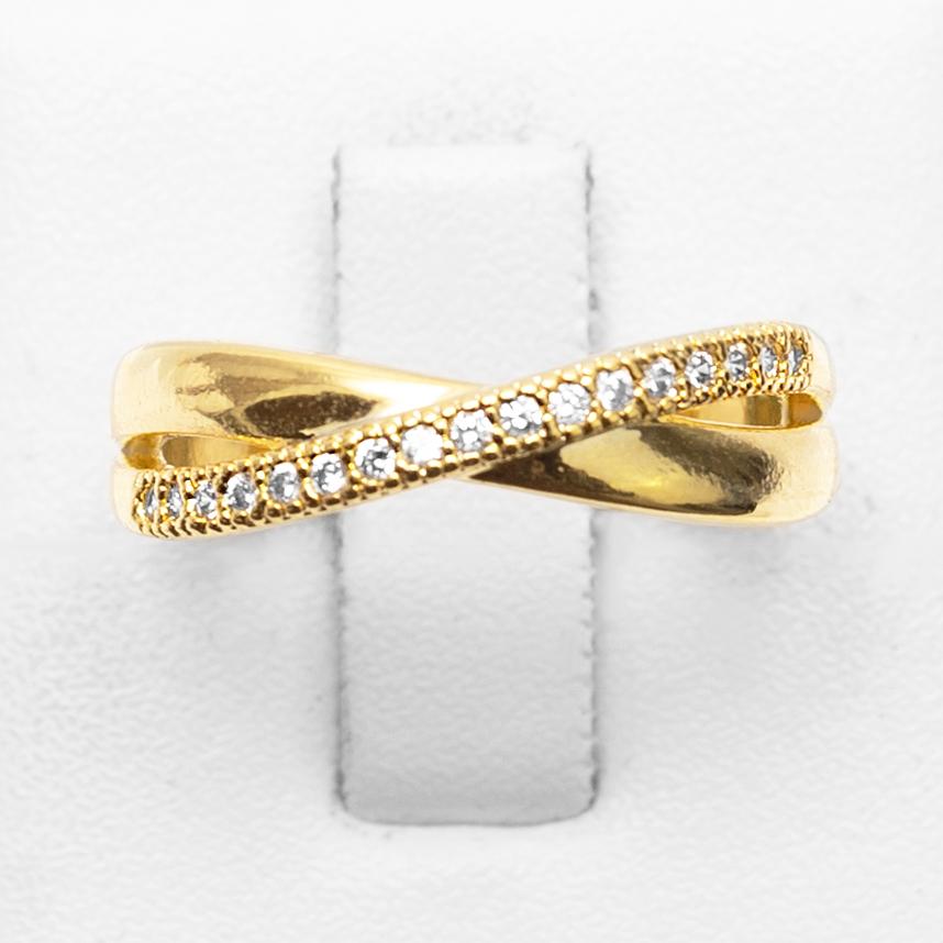 Anel Detalhe X com Fio Cravejado Zircônia Folheado a Ouro18k  - Lunozê Joias