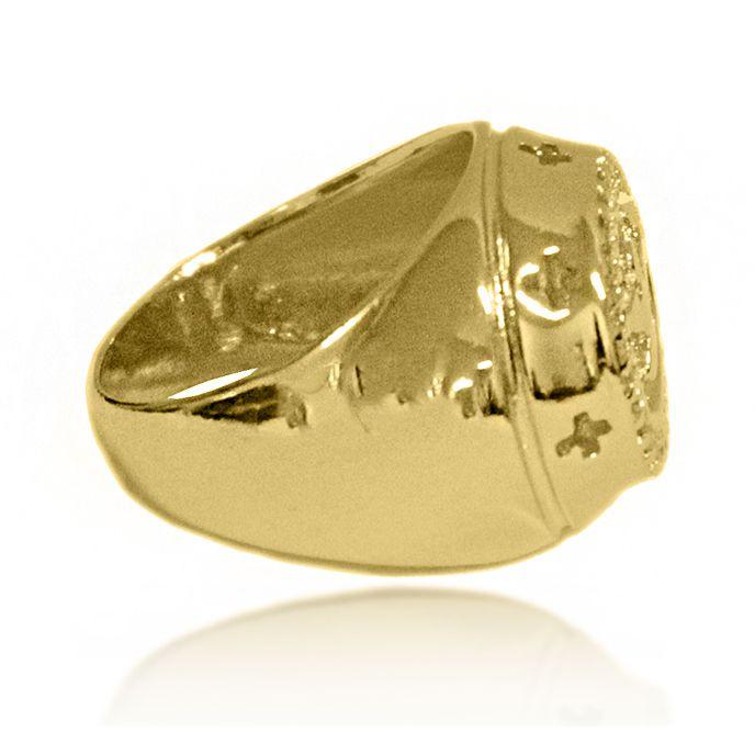 Anel Espirito Santo Cravejado de Zirconia Folheado a Ouro 18k