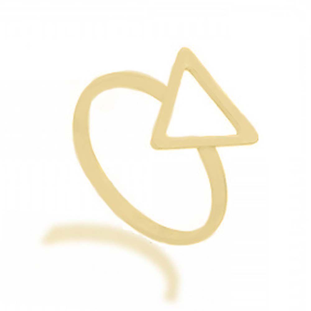 Anel Infantil/Falange Triângulo Vazado Folheado Ouro 18k