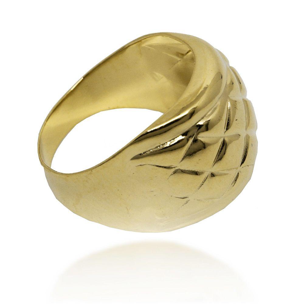 Anel Largo Chapa Lisa Quadriculado Folheado Ouro 18K