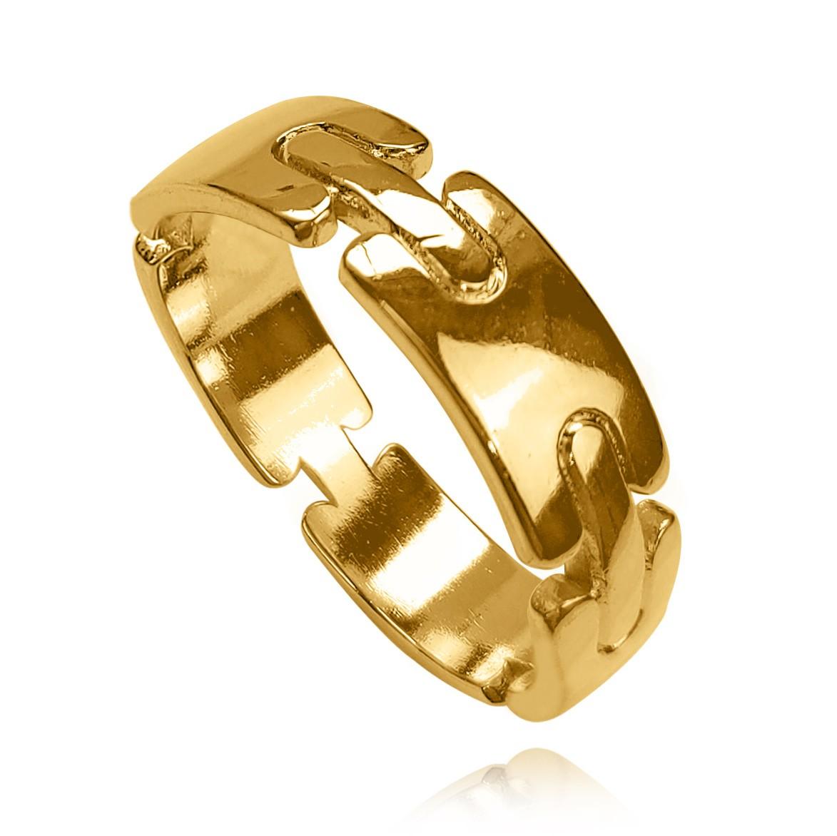 Anel Liso com Detalhes Cadeados Folheado a Ouro 18k