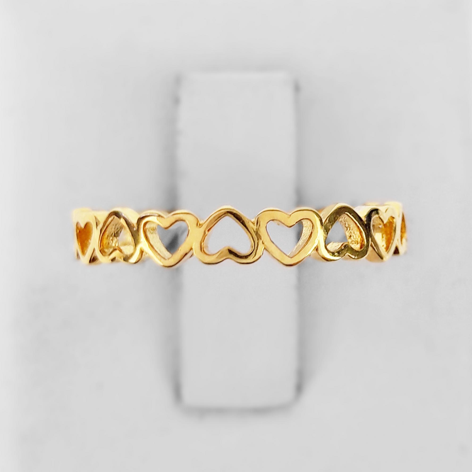 Anel Multi Corações Vazados Folheado Ouro 18k  - Lunozê Joias