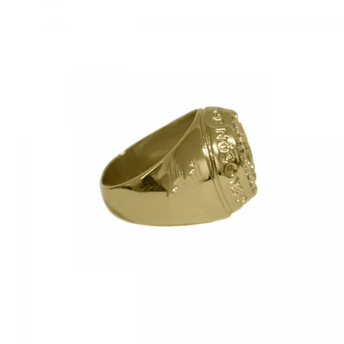Anel Nossa Senhora Aparecida Cravejado de Micro Zirconias Folheado a ouro 18k