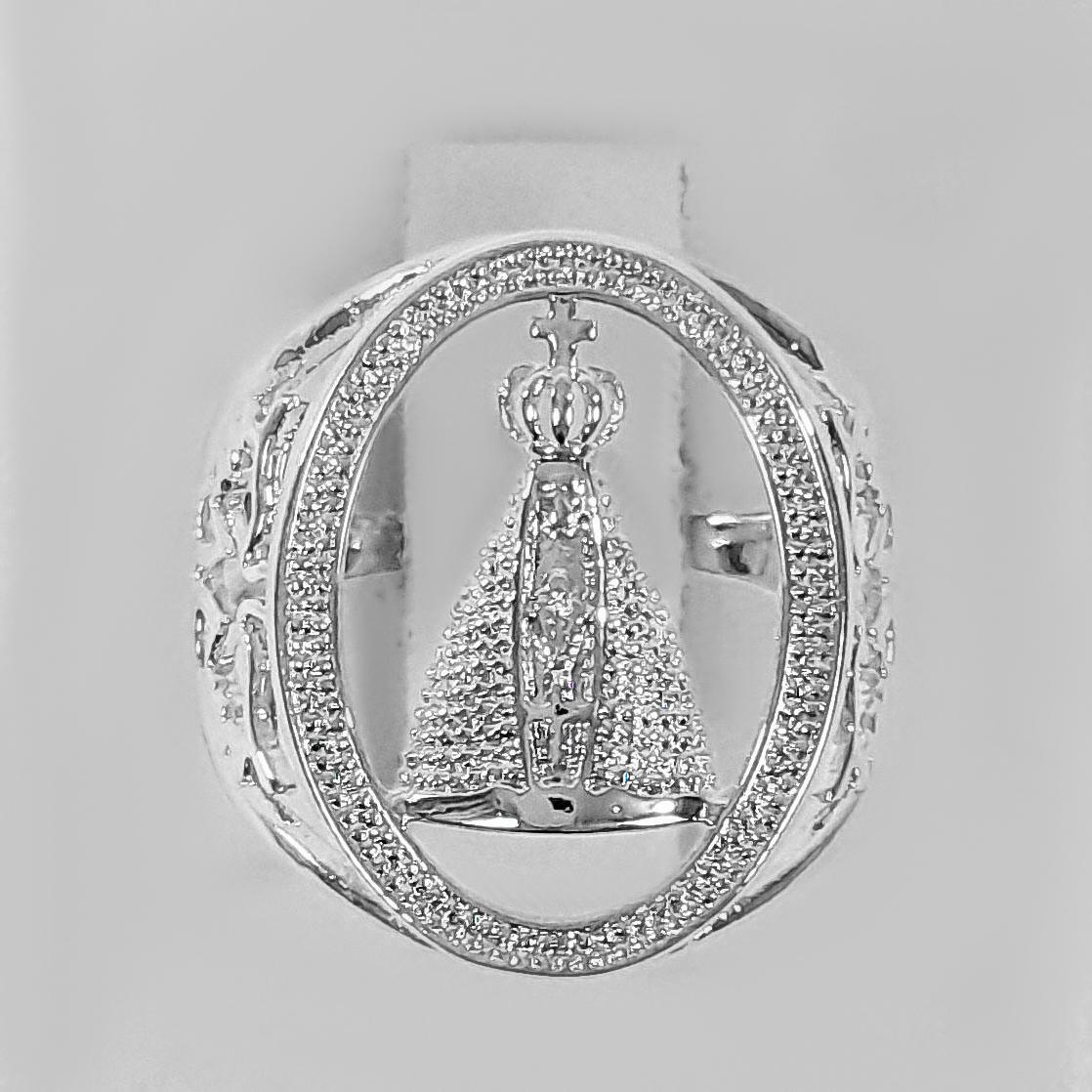 Anel Nossa Senhora Aparecida Vazado Folheado Prata 1000  - Lunozê Joias