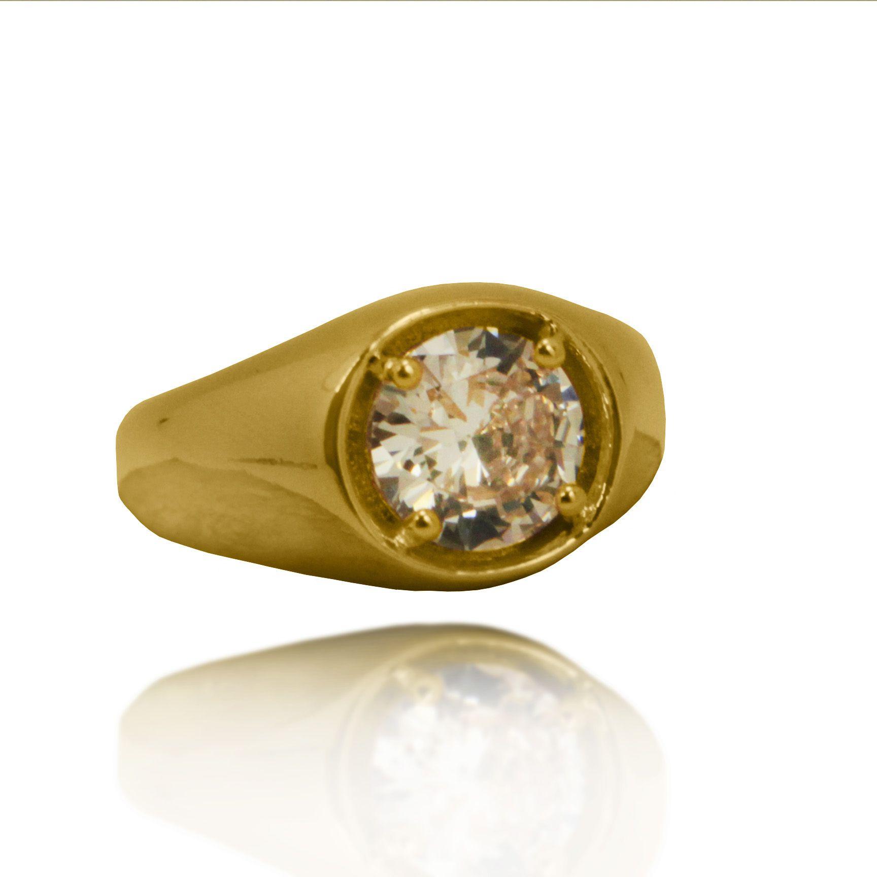 Anel Pedra Colorida Folheado a Ouro 18k