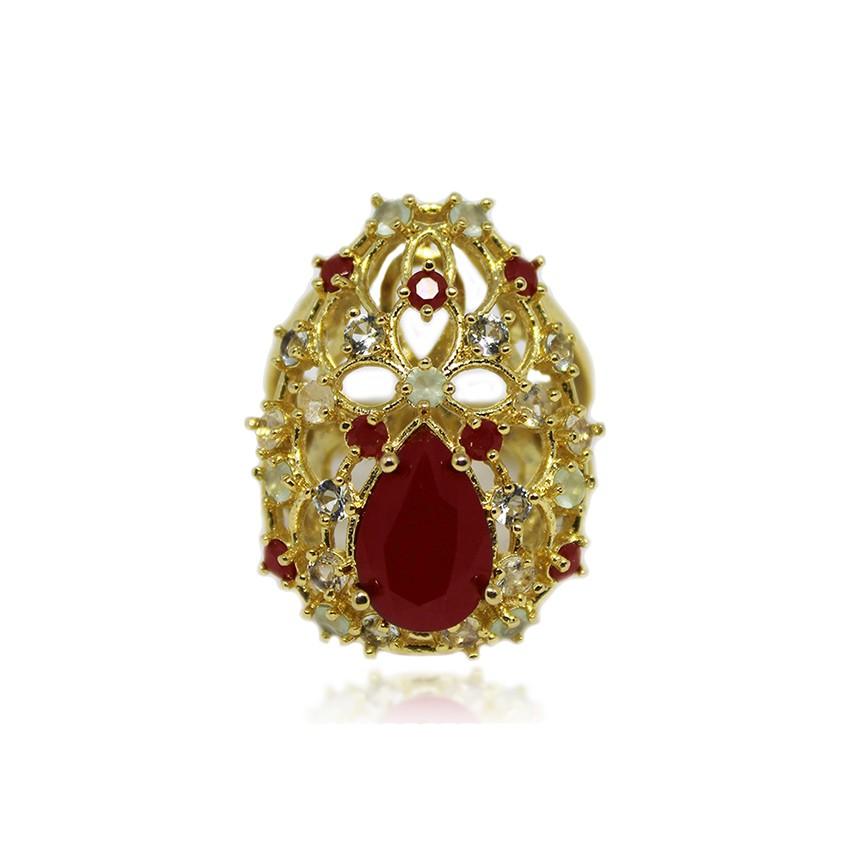 Anel Pedra Lapidada Folheado a Ouro 18k (tamanho 18)