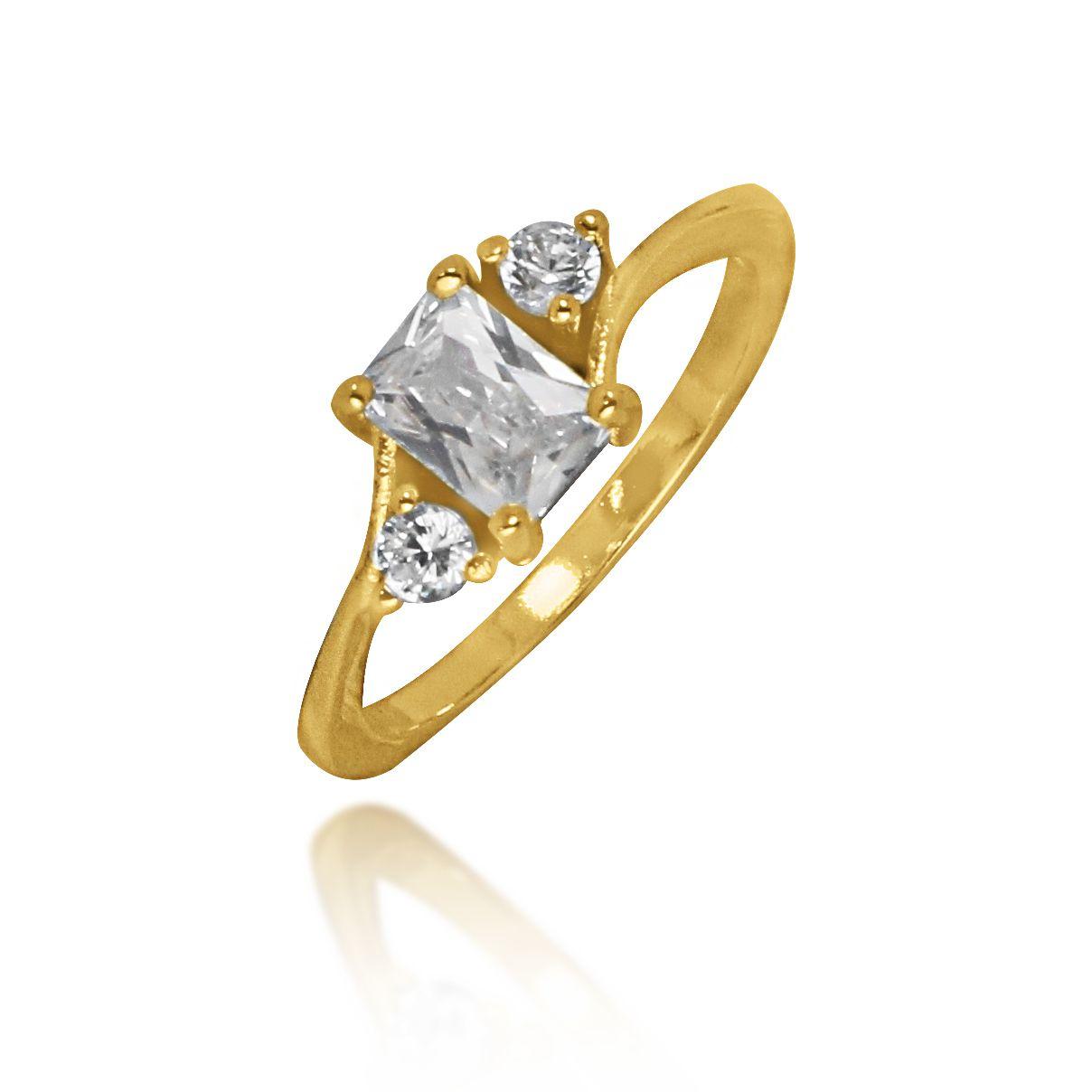 Anel Pedra Retangular com Zircônia Folheado a Ouro 18k