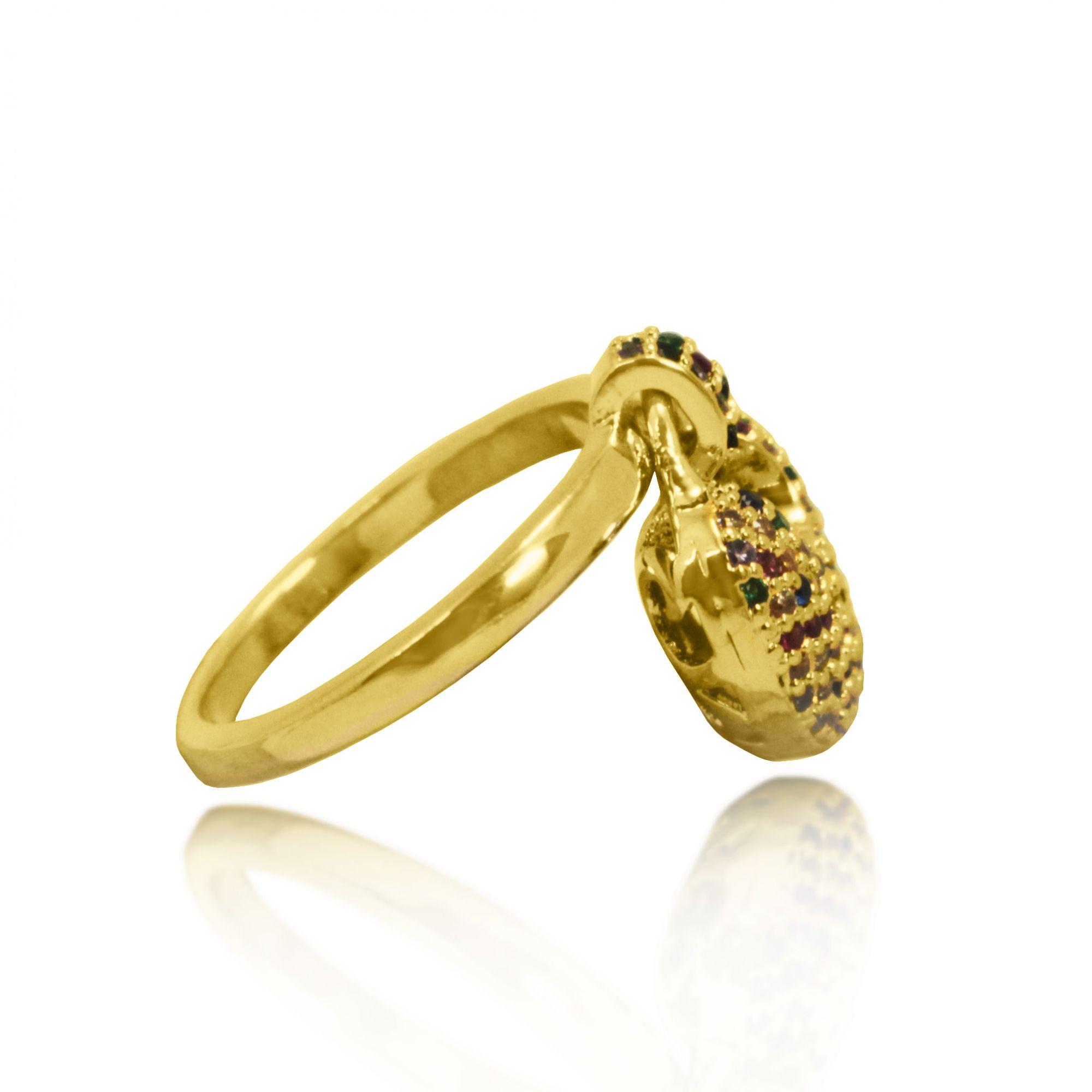 Anel Pendente Pedras Cravejadas Coloridas Folheado a Ouro 18k
