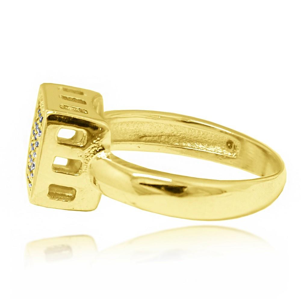 Anel Quadrado Cravejado Micro Zircônias Folheado a Ouro 18k