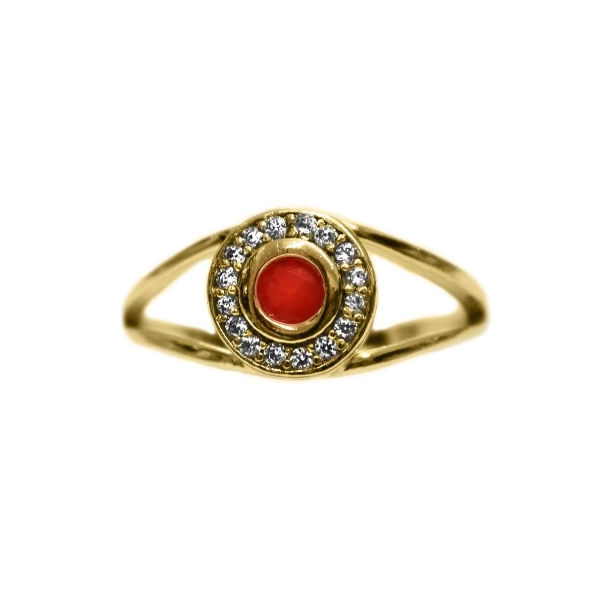 Anel Redondo Pequeno de Pedra Cravejado Com Micro Zircônia Folheado A Ouro 18K