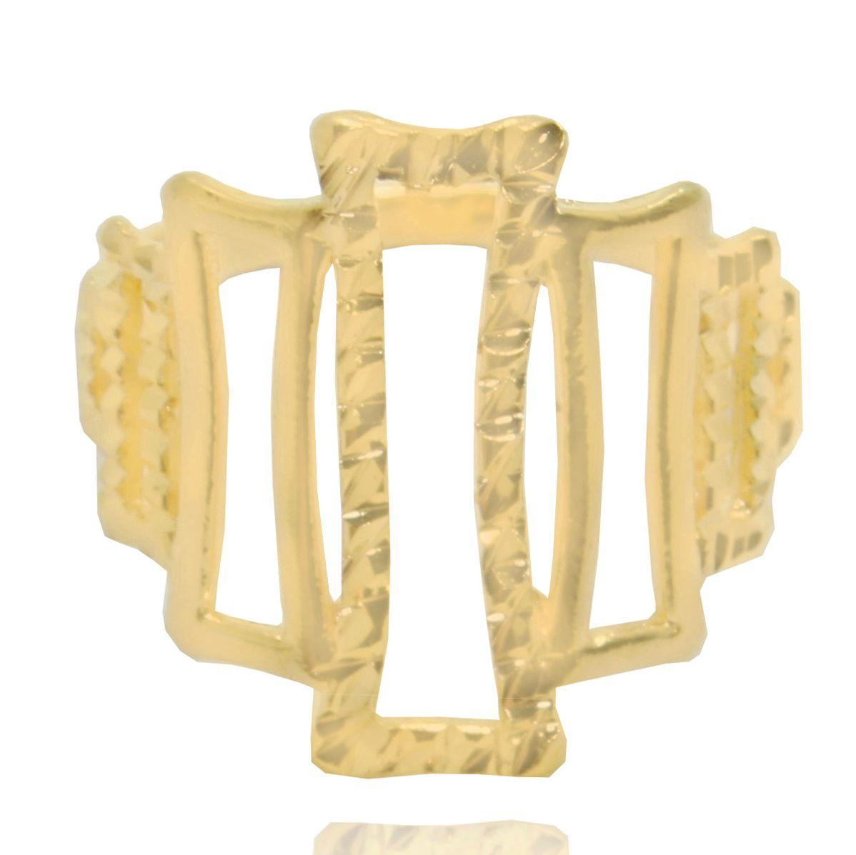 Anel Retangular Folheado Ouro 18k