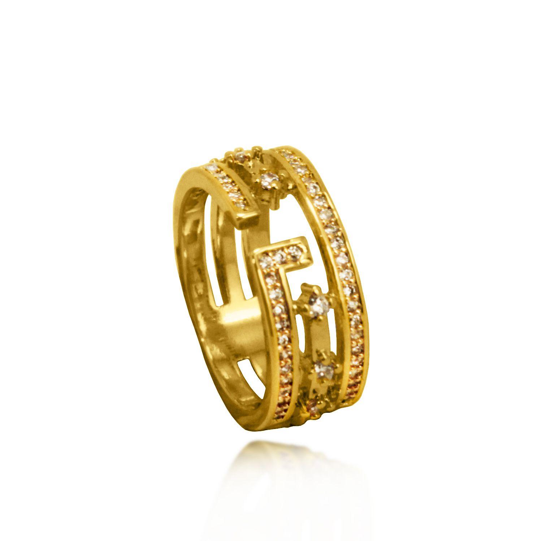 Anel Três Aros Zircônias Cravejadas  Folheado a Ouro 18k