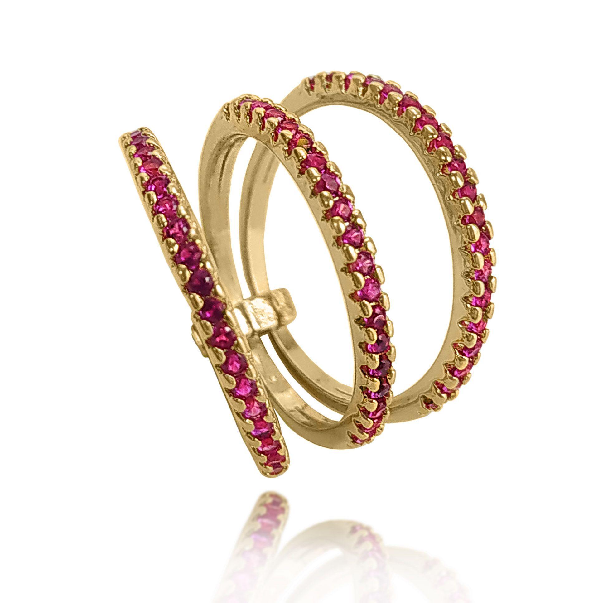 Anel Triplo Filete Pedras Coloridas Folheado a Ouro 18k