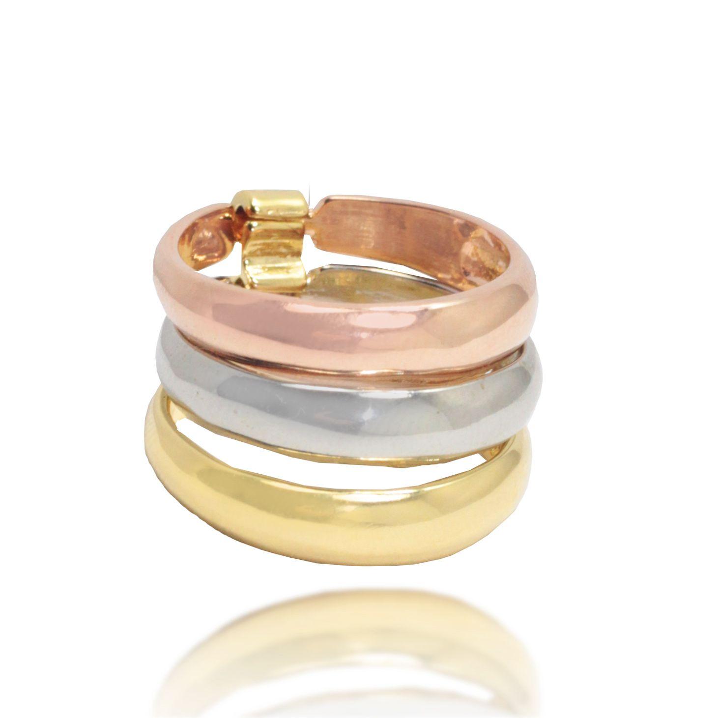 Anel Triplo Folheado Ouro 18k + Prata + Rosé