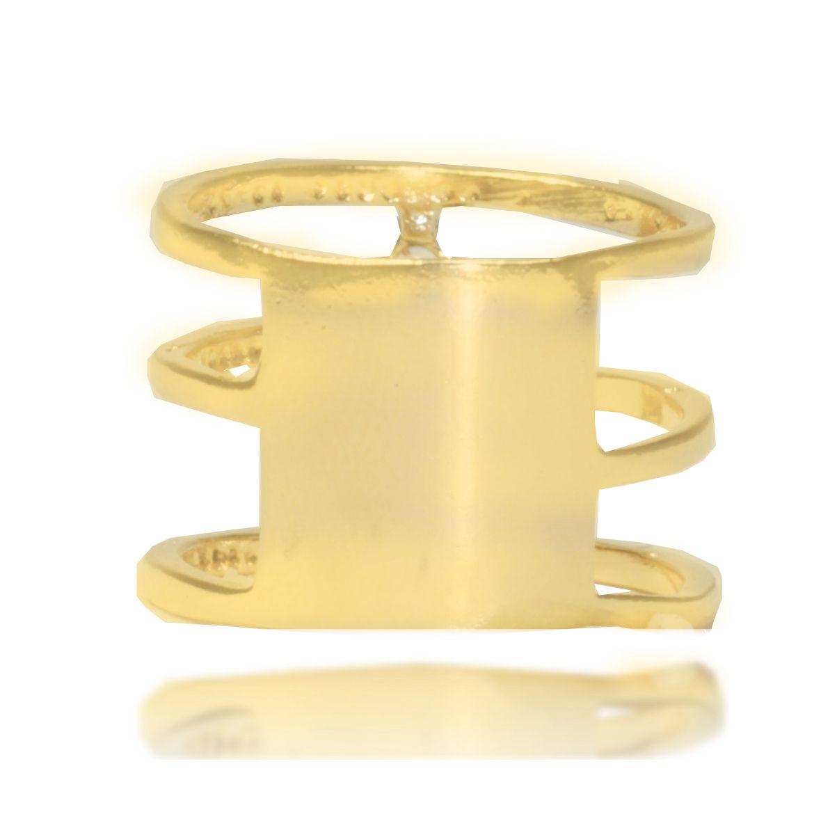 Anel triplo Stone Zircônia Folheado Ouro 18k