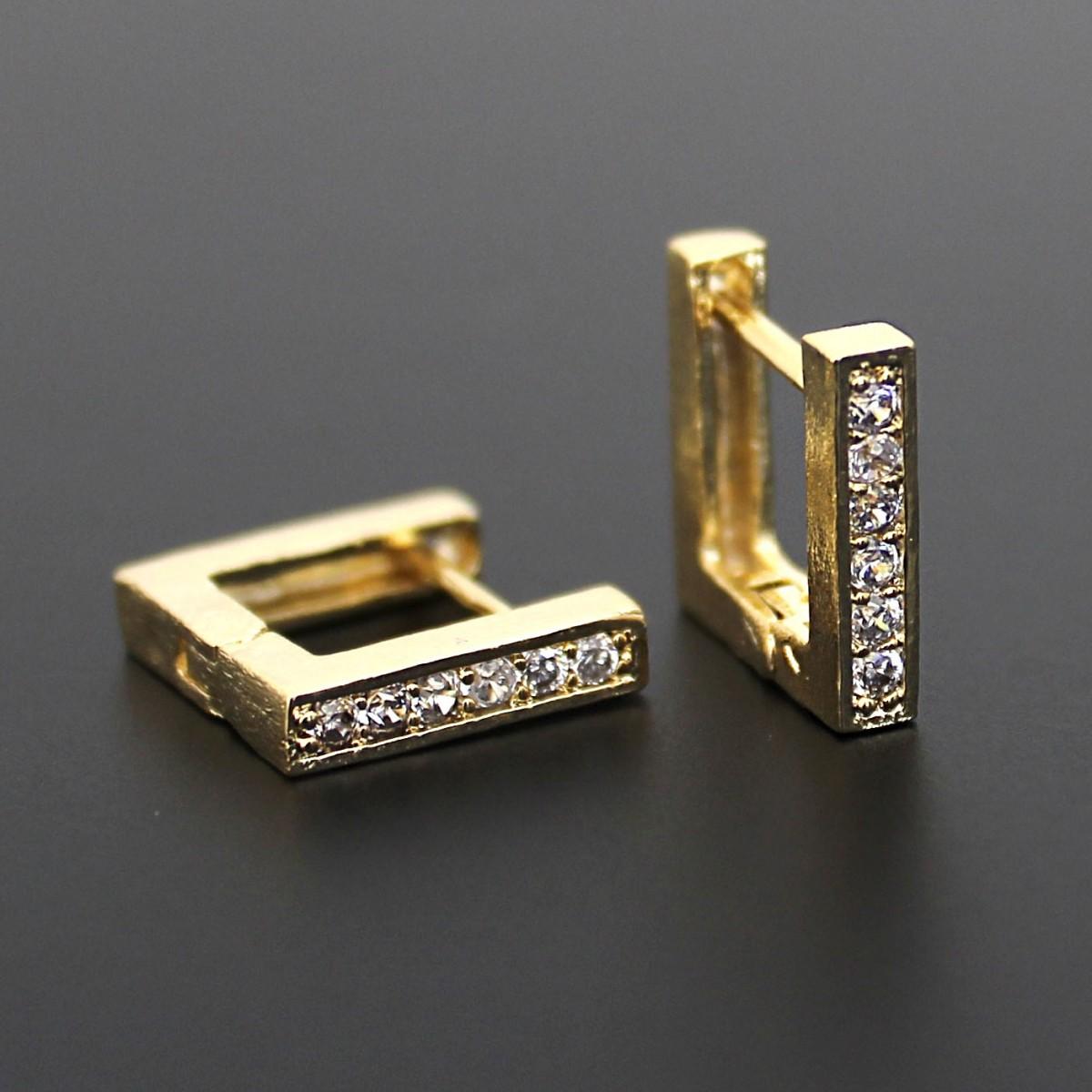 Argolinha Quadrada com Micro Zircônias Folheada a Ouro 18k