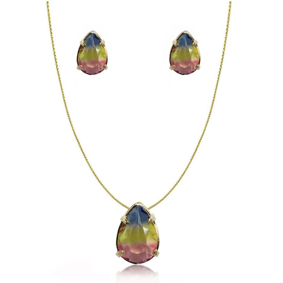 Conjunto Pedra Rainbow Gota Folheado Ouro 18k