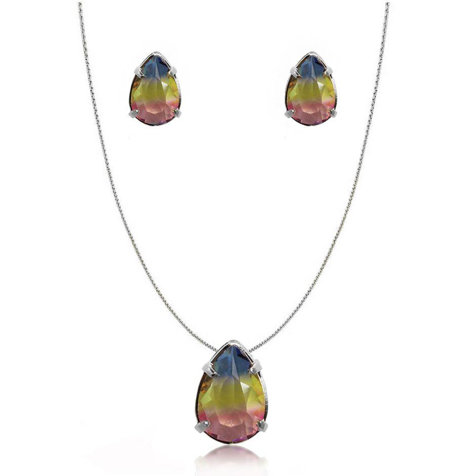 Conjunto Pedra Rainbow Gota Folheado a Prata 1000