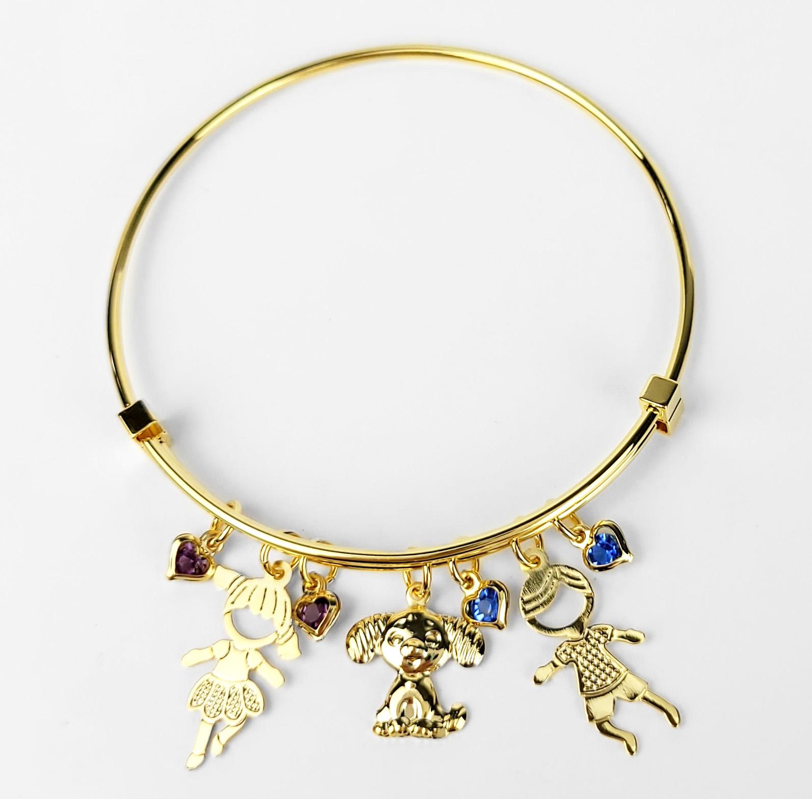 Bracelete Ajustável Casal de Filhos e Pet Folheado Ouro 18k  - Lunozê Joias