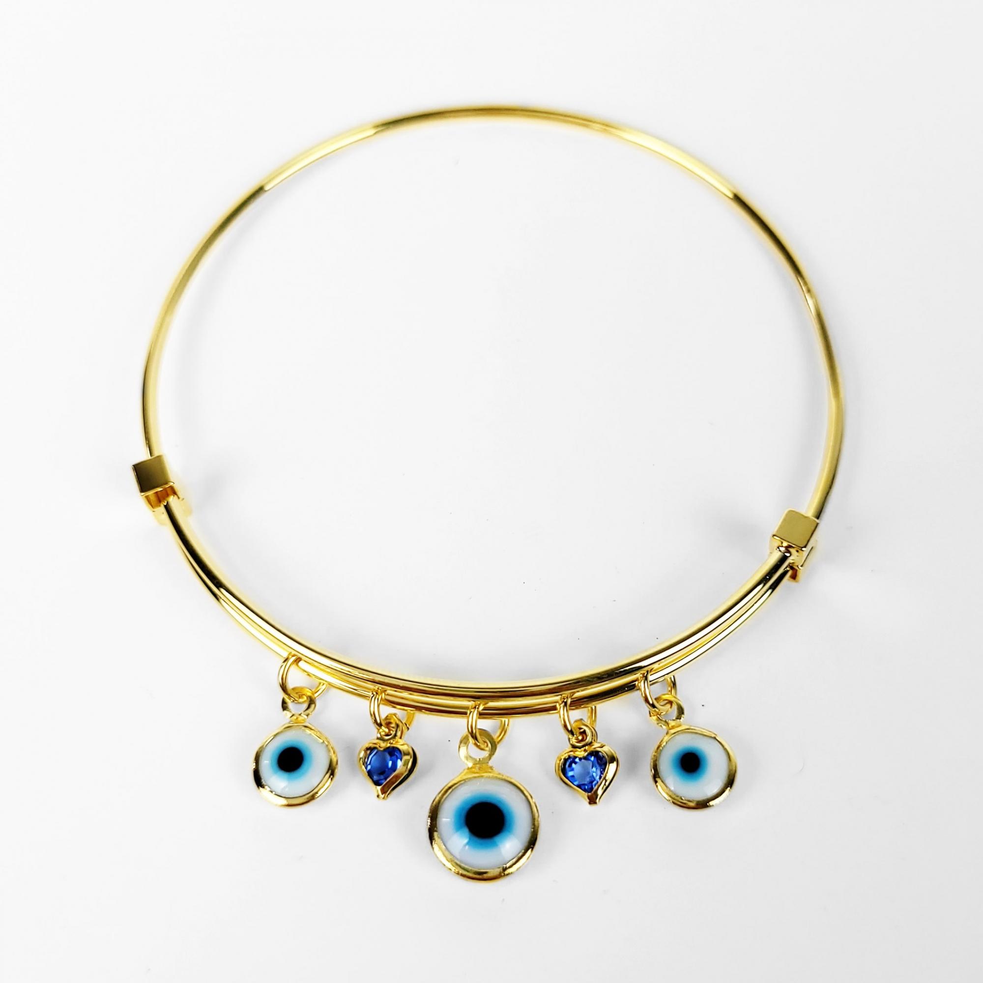 Bracelete Ajustável Olho Grego e Corações Folheado Ouro 18k  - Lunozê Joias