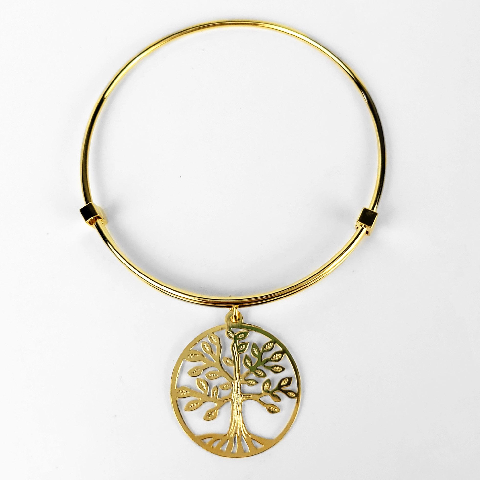 Bracelete Ajustável Pendente Árvore da Vida Folheado Ouro 18k  - Lunozê Joias