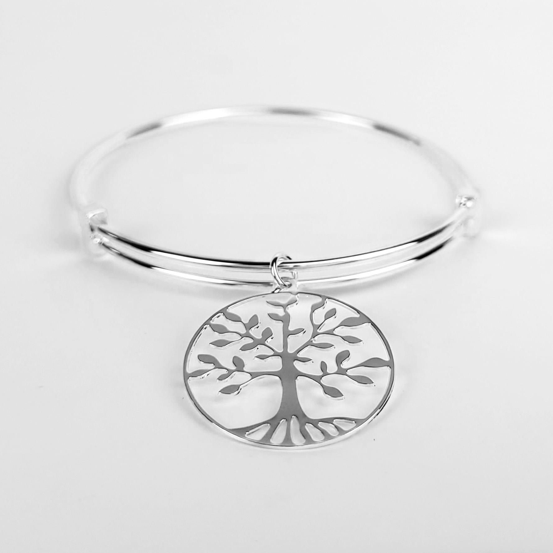 Bracelete Ajustável Pendente Árvore da Vida Folheado Prata 1000  - Lunozê Joias