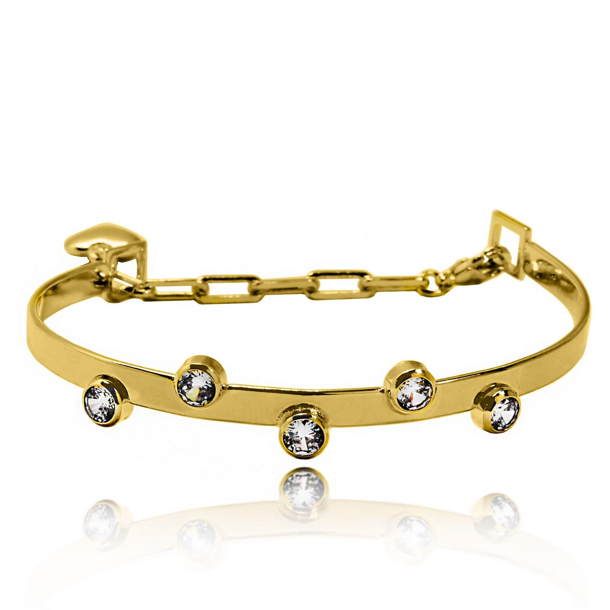 Bracelete Cinco Pontos Zircônia Folheado a Ouro 18k  - Lunozê Joias