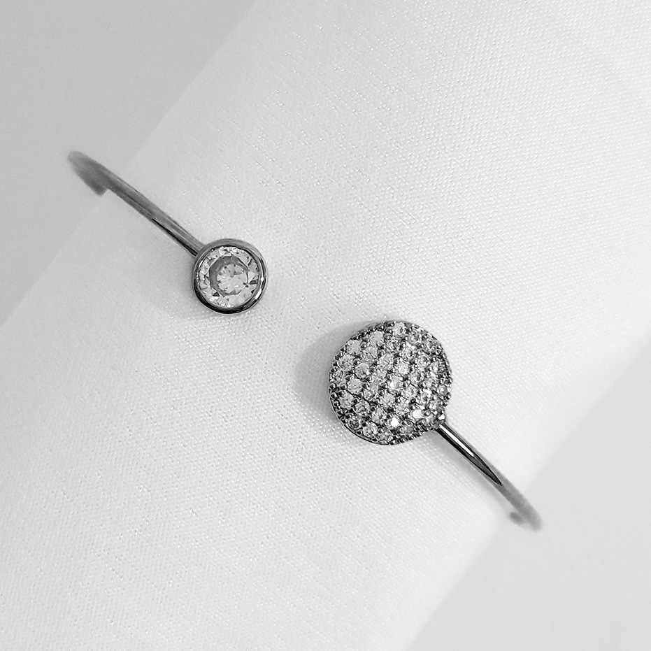 Bracelete Cravejado com Zircônias Banho Ródio Negro  - Lunozê Joias