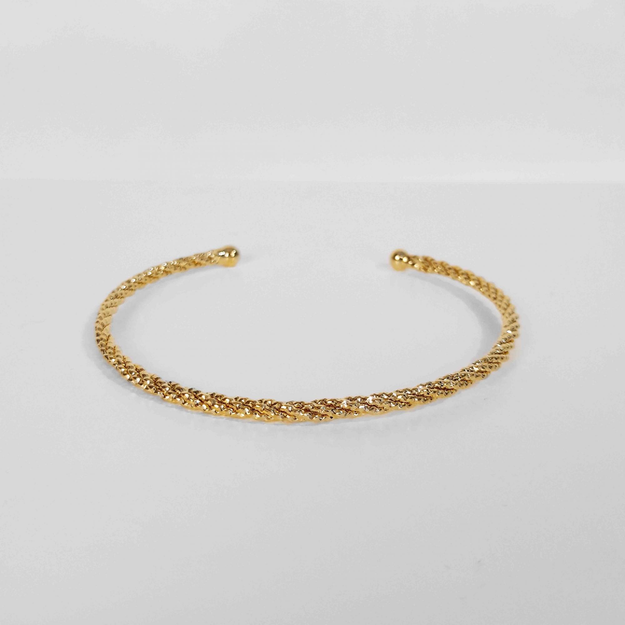 Bracelete Estilo Cordão Baiano Folheado a Ouro 18k  - Lunozê Joias