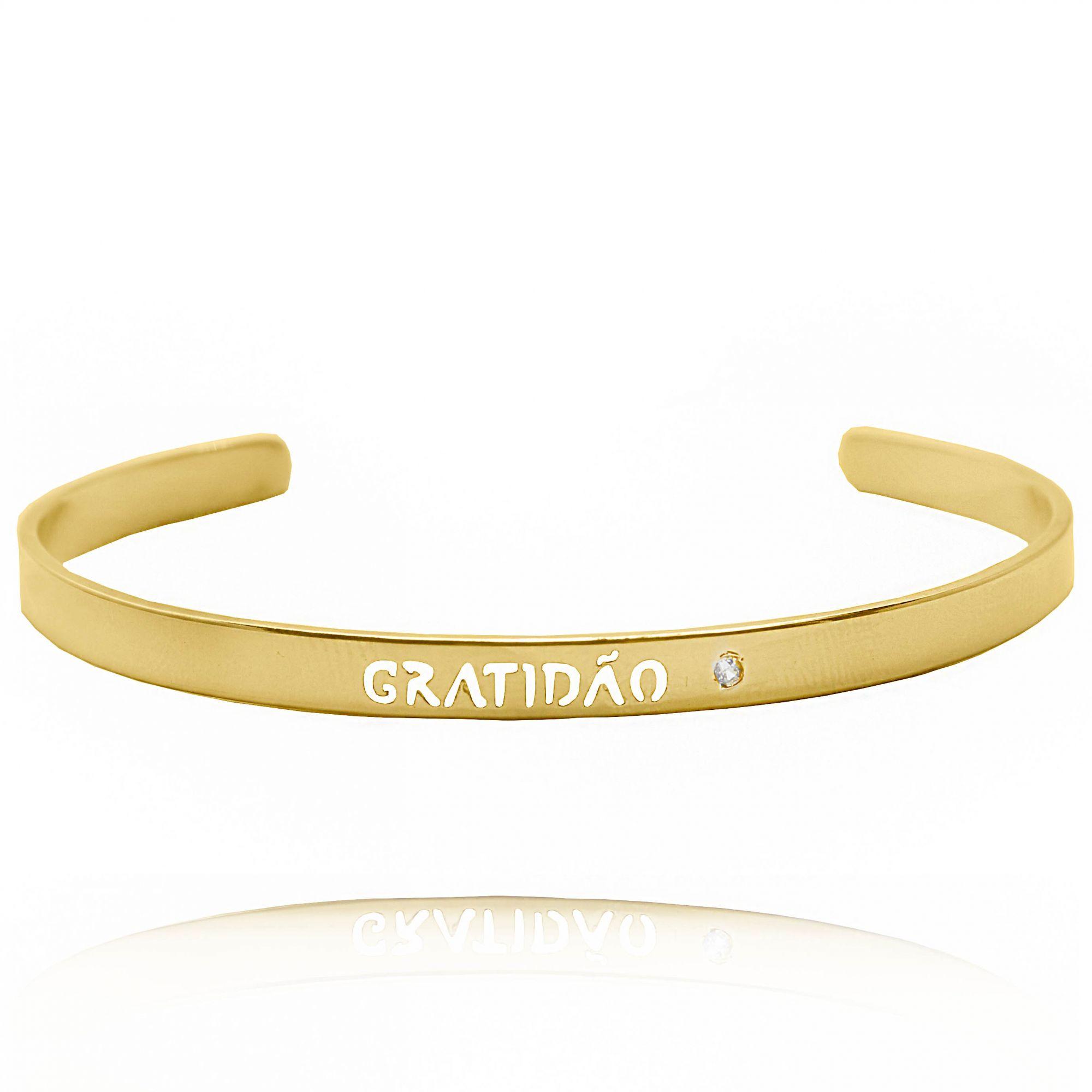 Bracelete Gratidão Folheado a Ouro 18k