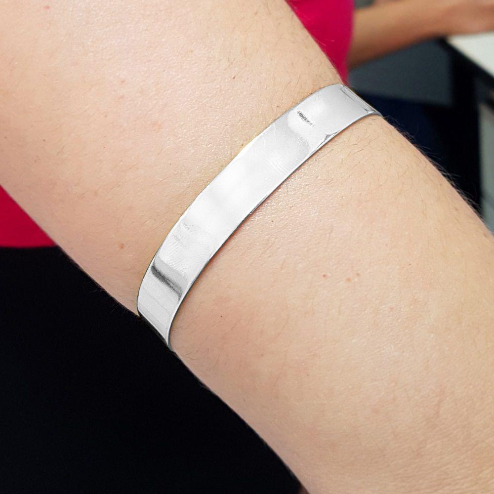 Bracelete Largo Liso Folheado a Prata 1000