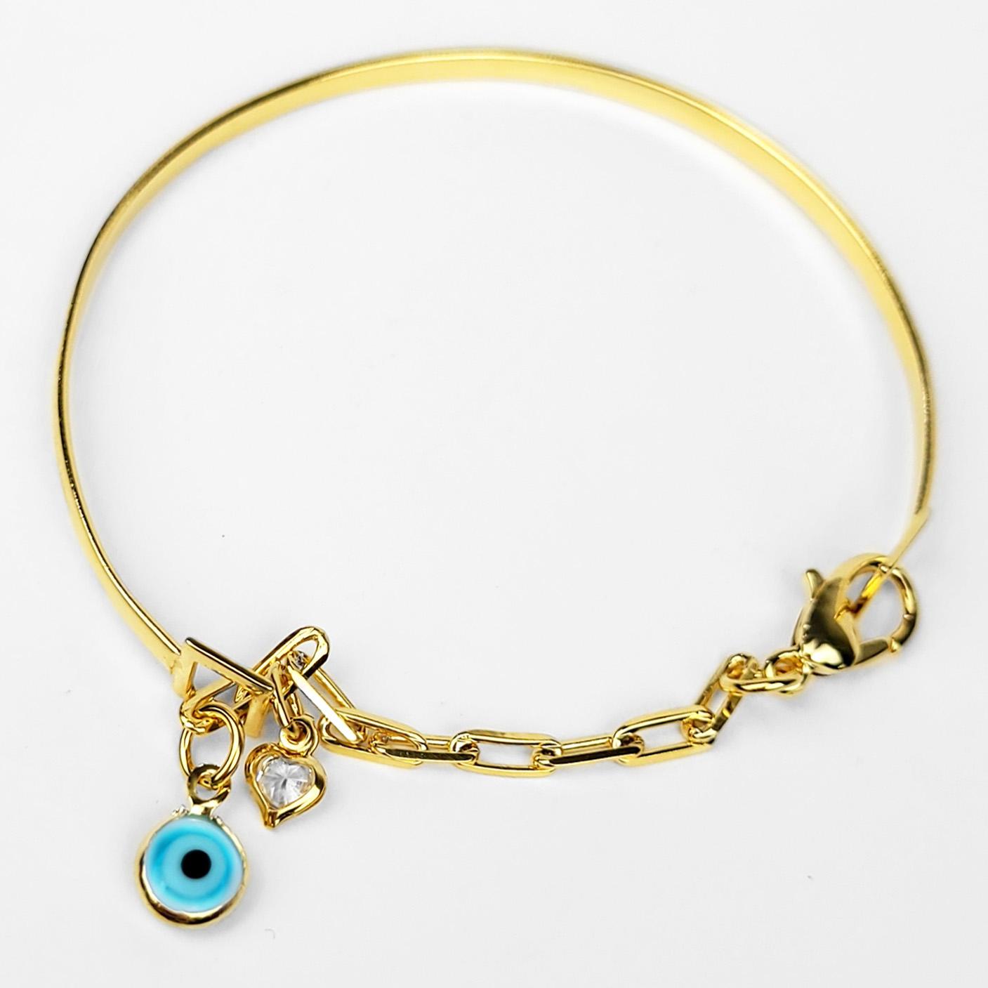 Bracelete Olho Grego com Elo Alongado Folheado a Ouro 18k  - Lunozê Joias