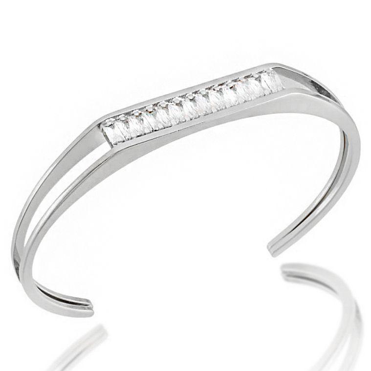 Bracelete Zircônia Baguete Cravejada Folheado a Prata 1000