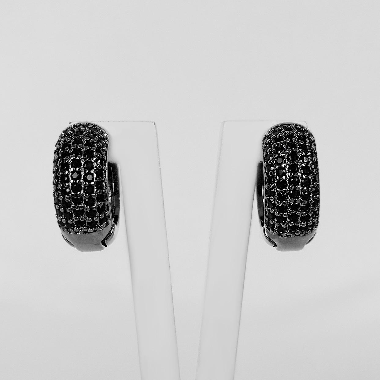 Brinco Argola 1,5cm 5 Filetes de Zircônias Banho Ródio Negro  - Lunozê Joias