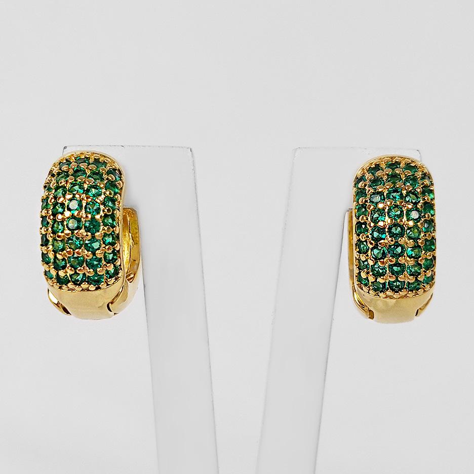 Brinco Argola 1,3cm 5 Filetes de Zircônias Folheado a Ouro 18K  - Lunozê Joias