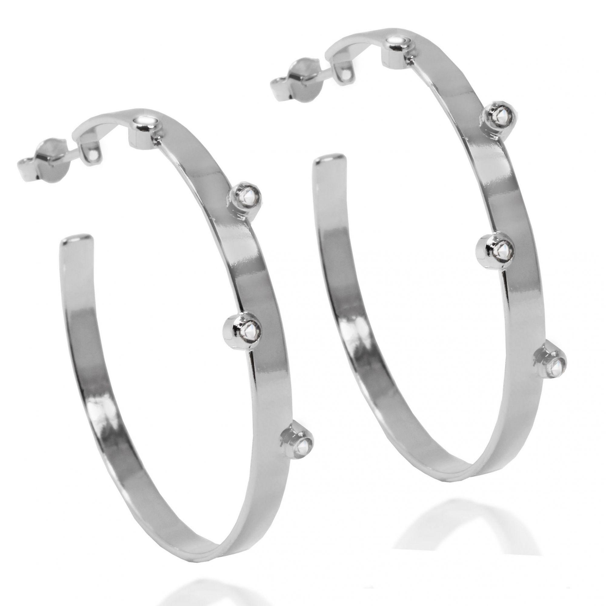 Brinco Argola 5 Pontos Zircônia Folheado a Prata 1000
