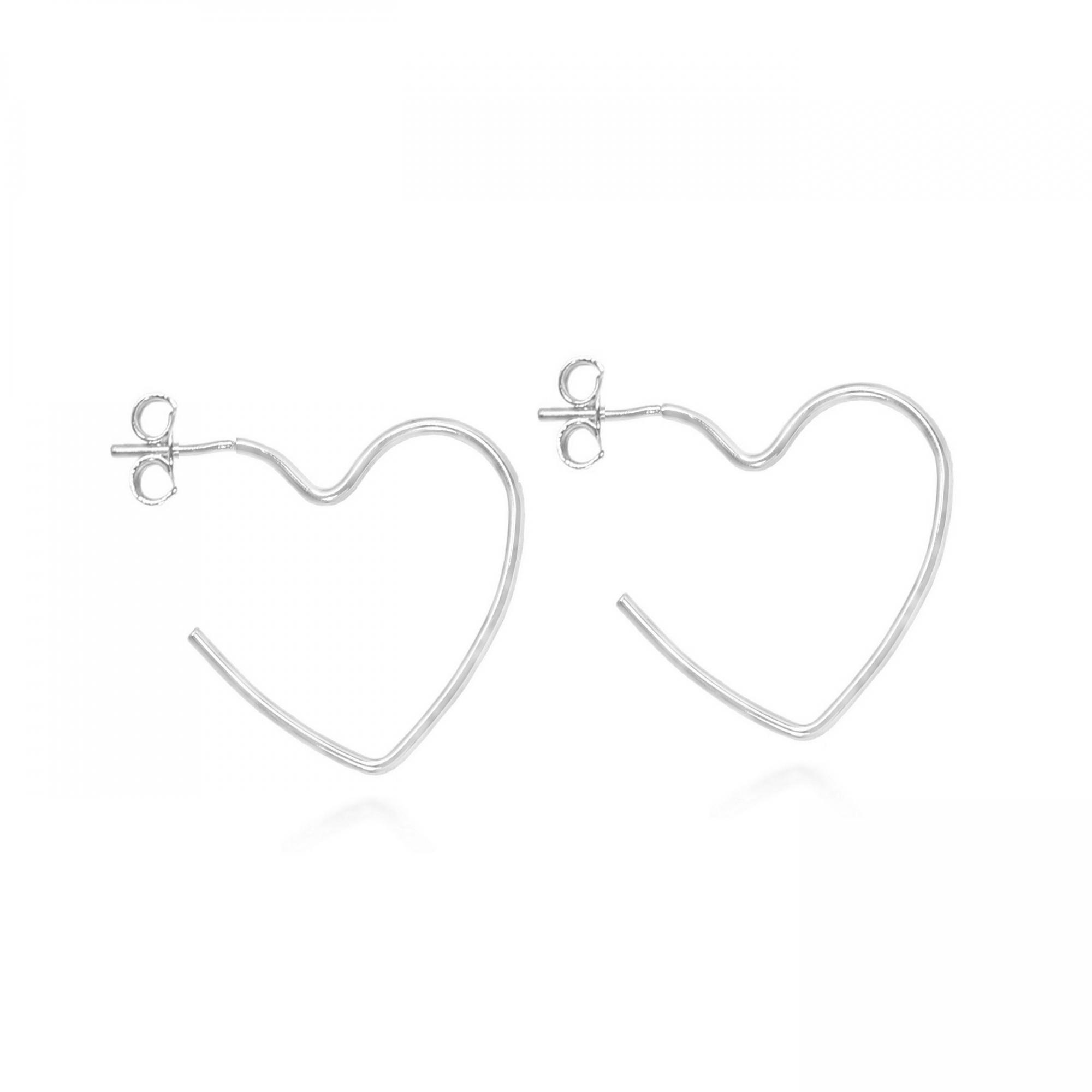 Brinco Argola Coração Aberto Menor 3cm Folheado Prata  - Lunozê Joias