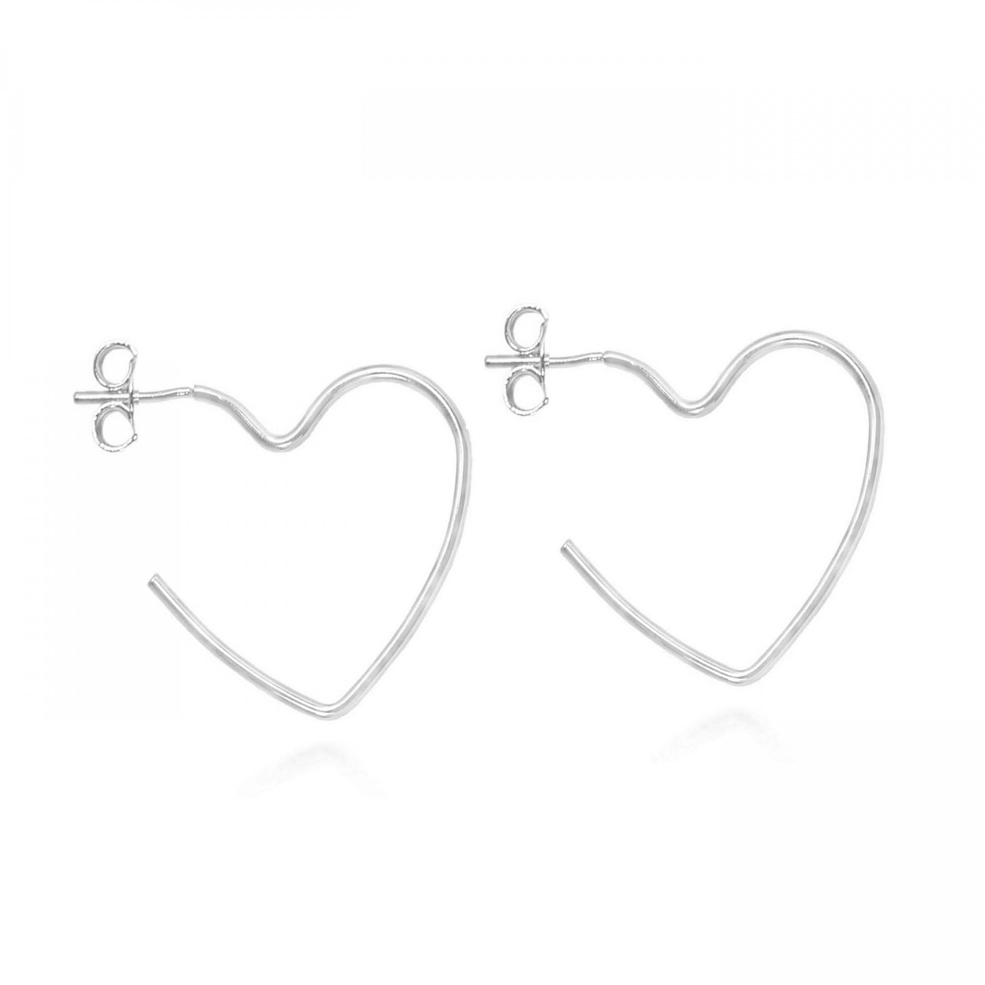 Brinco Argola Coração Aberto Médio 4 cm Folheado Prata  - Lunozê Joias