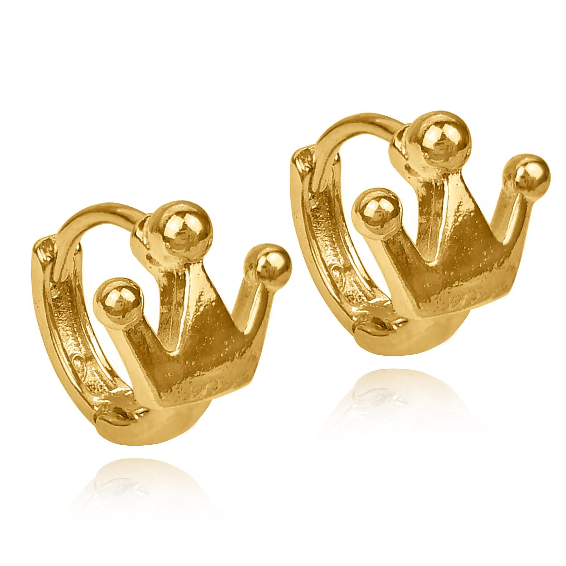 Brinco Argola Coroa Lisa Folheado a Ouro 18k  - Lunozê Joias