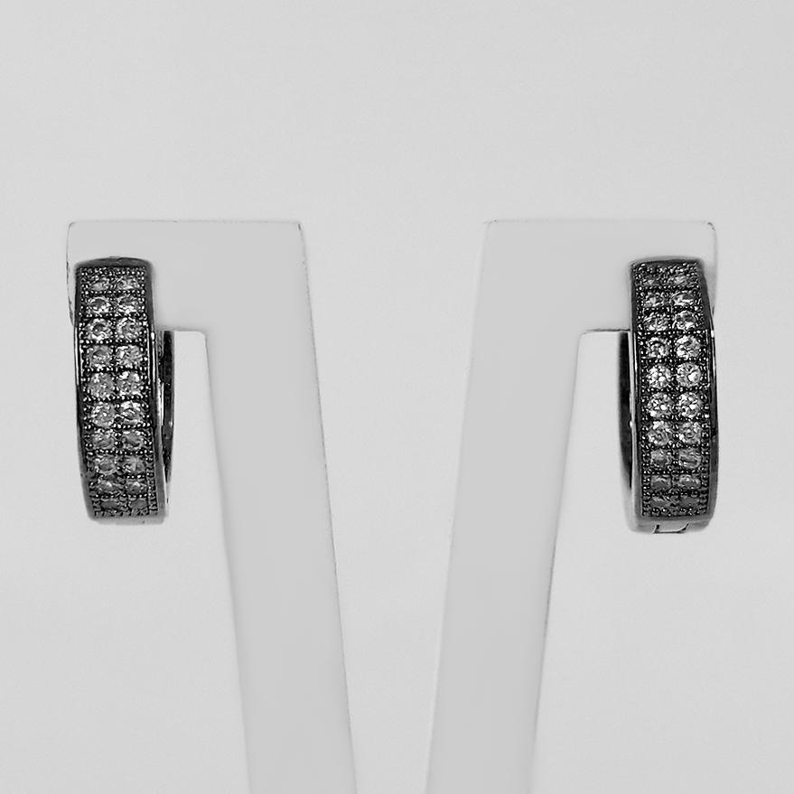 Brinco Argola Cravejada Zircônia 1,3 cm Banho a Ródio Negro  - Lunozê Joias