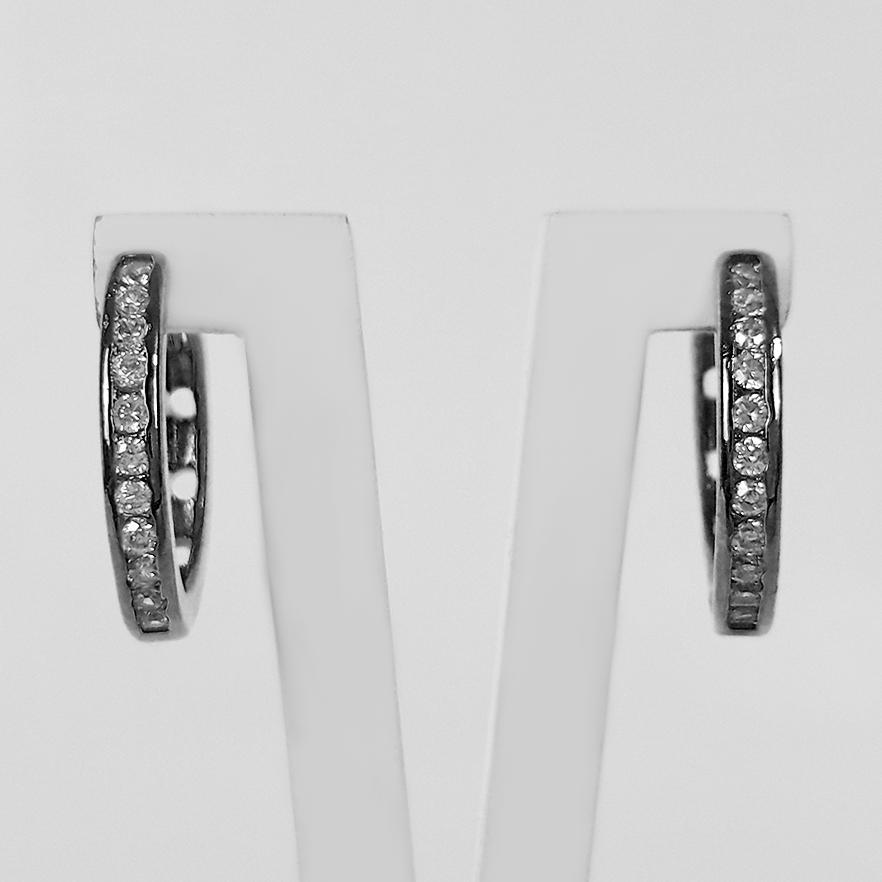 Brinco Argola Cravejada Zircônia 1,7 cm Banho Ródio Negro  - Lunozê Joias