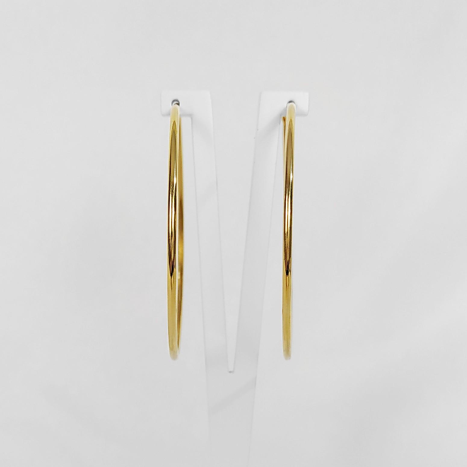 Brinco Argola Fina Lisa Fechada 5,5cm Folheado Ouro 18K