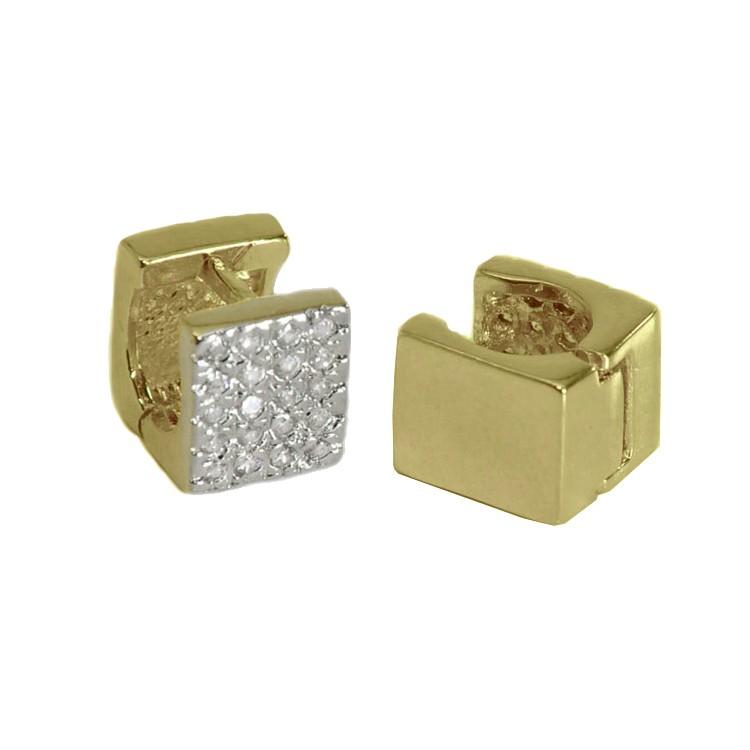 Brinco Argola Quadrada com Zircônia Folheado Ouro + Ródio