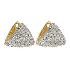 Brinco Argola Triangular Cravejada Folheado a Ouro + Ródio