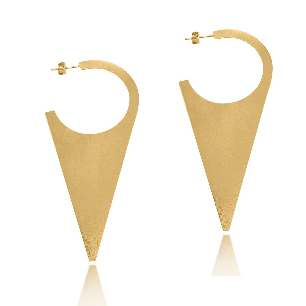 Brinco Argola Triangular Folheado a Ouro 18k