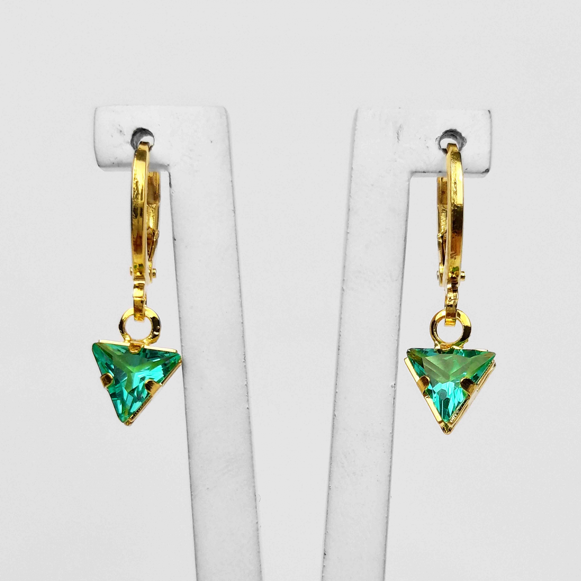Brinco Argola Triângulo Zircônia Colorido Folheado Ouro 18K  - Lunozê Joias