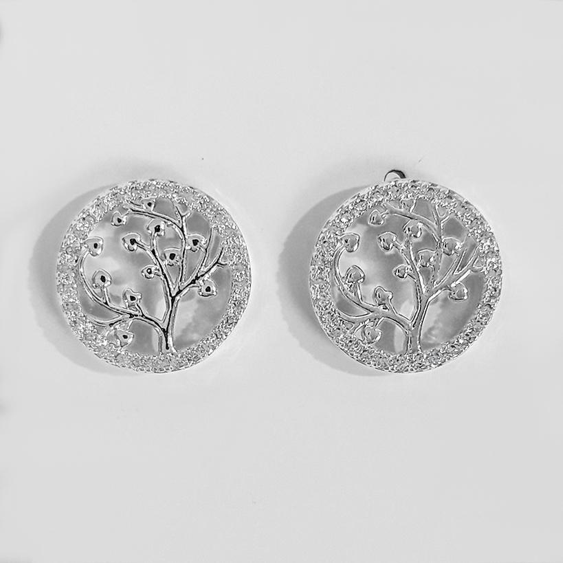 Brinco Árvore da Vida com Zircônias Folheado a Prata 1000  - Lunozê Joias